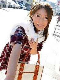 Sweet and sexy Japanese av idol Nami Hoshino undresses outdoor and indoor