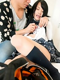 Beautiful and cute Japanese av idol Aichi Nozomi shows her amazing naked body undressing school uniform