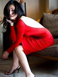 Noriko Aoyama Asian is a true diva in elegant satin dresses