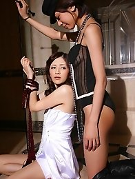 Two gorgeous asian babes together in their skimpy lace lingerie