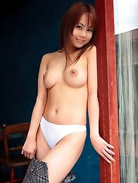 Busty japan model shows upskirt and big tits