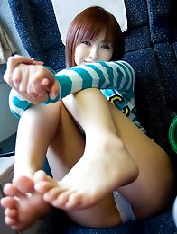 Honey japanese teen Yu Namiki strips naked on beach