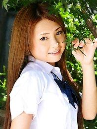 Cutie Japanese School Girl Marimi Natsuzaki posing outdoors