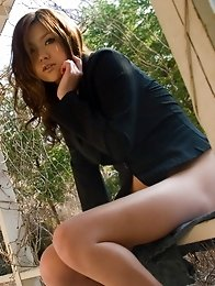 Beautiful and nasty Japanese av idol Miyu Sakurai shows her wild side naked at outdoors