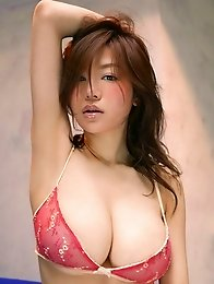 Big boobs spill from this asian babes tight lacey lingerie