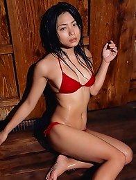 Yukie Kawamura is all wet in her tiny red bikini