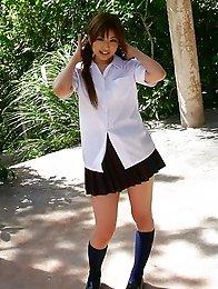 Sexy and sweet Japanese av idol Miyu Sugiura shows her naked body at the beach