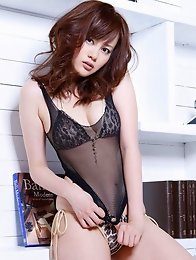 Plump breasted asian beauty looks incredible in her lingerie
