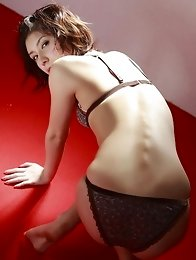 Miu Nakamura in a patterned bra with matching thong panties