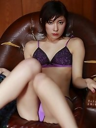 Miu Nakamura in a patterned bra with matching thong panties