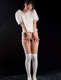 Hottie in white Karina Oshima gets her perfect thighs fucked hard on camera