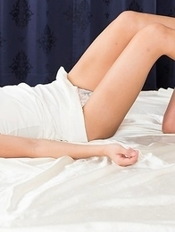 Shino Aoi gets her legs fucked before giving a footjob in beautiful white stockings