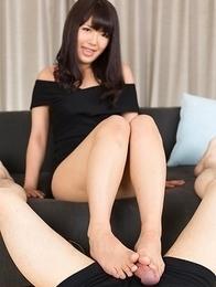 Black dress babe Mayuka Momota using her perfect feet to make a guy cum hard