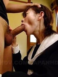 Young maid Aoba Itou sucks a cock
