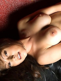 Sarah likes touching her wonderful boobs and long legs