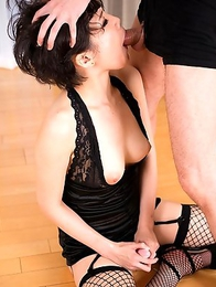 Face fuck slut Akari Misaki begs for cock to fuck her mouth pussy and she gets it.