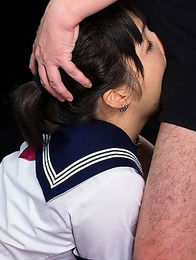 Innocent schoolgirl Yuu Tsuruno gets her face shoved into an older mans crotch.