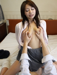 Yuri Aine teases us with her hairy pussy and gives an awesome blowjob before penetration