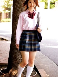 Naoko Sawano in sexy school uniform is playful after class