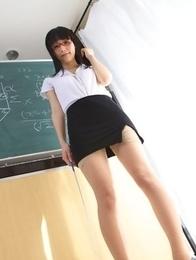 Yuri Hamada shows sexy legs in stockings while teaching