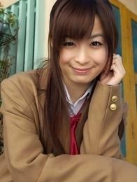 Hikari Yamaguchi in uniform and coat wants to share choco