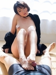Short-haired goddess Akari Misaki shows her pussy before a great FootJob